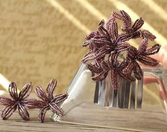 Lilith -  Hair Fork Pin or Alligator Clip Set - French Beaded Flower Bira Bira Kanzashi Maiko Geisha Japanese Hair Accessory