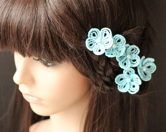 Triffany Blue - U-Pins or Bobby Pins - French Beaded Flower