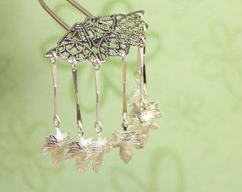 Silver Maple -  Hair Fork Pin Bira Bira Kanzashi Maiko Geisha Japanese Hair Accessory
