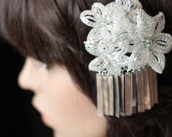 Winter Sonata - Hair Clip - French Beaded Flower Bira Bira Kanzashi Maiko Geisha Japanese Hair Accessory