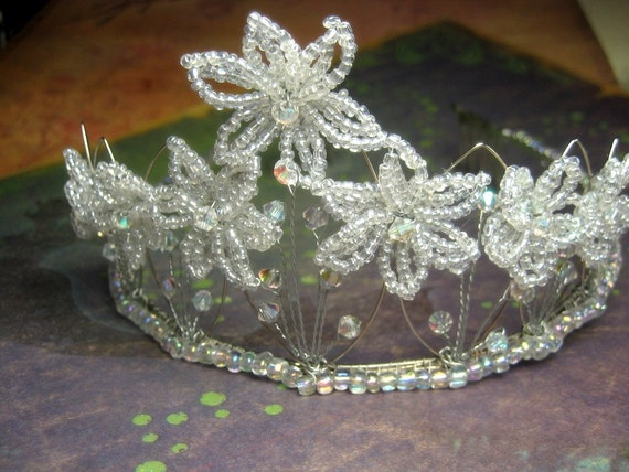Ariana Crystal - Floral Tiara - French Beaded Flower