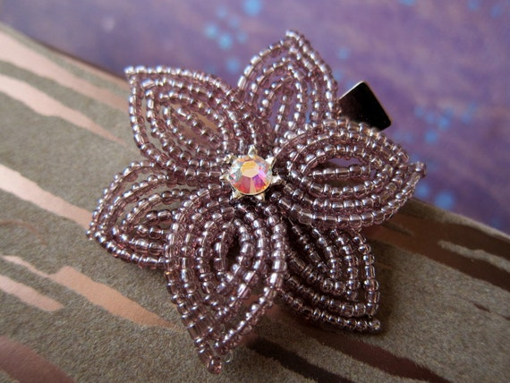 Purple Haze -  Hair Clip or Brooch Pin - French Beaded Flower