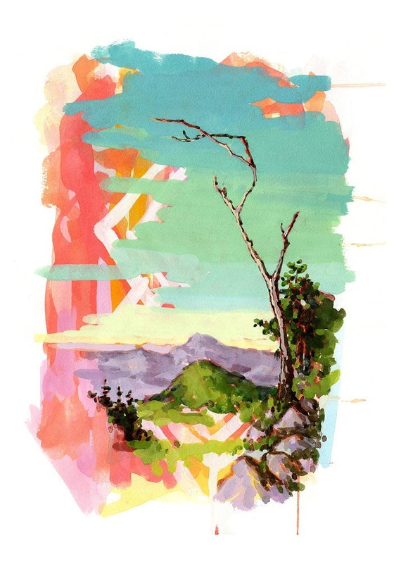 Psychedelic Landscape with Tree - 5x7 Giclee Print of Original Gouache Painting