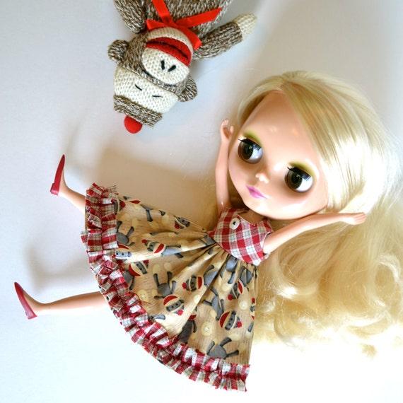 Tumbling Sock Monkey Dress for Blythe Neo Blythe Kenner or simllar size doll