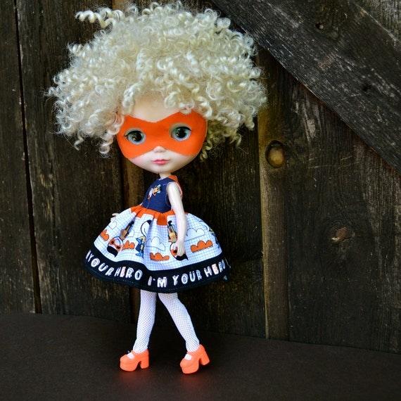 It's a bird, it's a plane... no it's Super Blythe - Dress for Blythe Kenner Neo Blythe Pullip or similar size doll