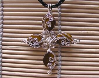 Golden Tigers Eye ... Cross ... Silver Wire Pendant