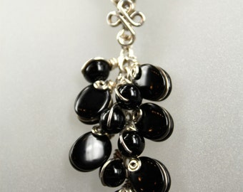 Black Onyx ... Silver Wire Cluster Pendant