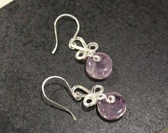 Elegant Dangle Swirl . Purple Amethyst . Silver Wire Wrapped . Earrings
