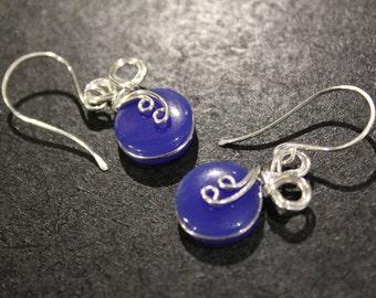 Elegant Dangle Swirl . Blue Agate . Silver Wire Wrapped . Earrings