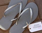 Womens Swarovski Crystal Bling Grey Silver Slim Havaianas Flip Flops - Hannah
