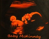 Custom Hand Painted Baby Ultrasound Silhouette