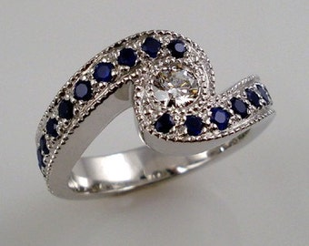 DIAMOND and SAPPHIRES ring - White gold -
