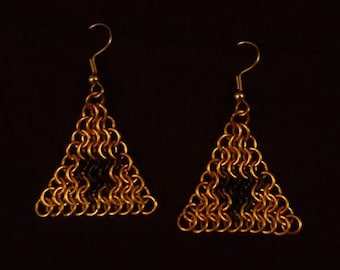 Legend of Zelda-Inspired Triforce Chainmail Earrings
