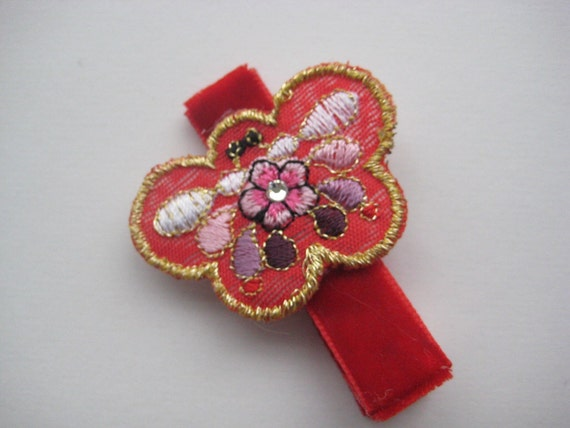 Traditional Korean Hair Clip (red ribbon and red butterfly)