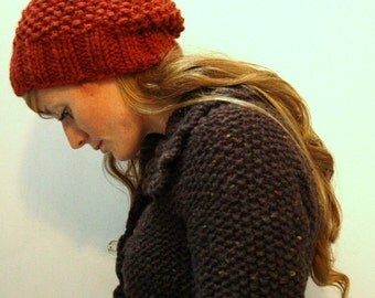 KNITTING PATTERN // Autumn hat // seed stitch super bulky toque -- PDF