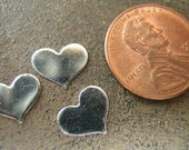 Small/Tiny Sterling Silver Heart Stamping  7mm x 5mm(2, 4, 6, or 20  Hearts)