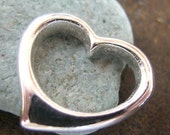 Sterling Silver Floating Heart Charm(one, or two charms)
