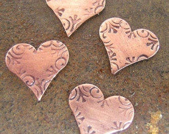 Copper Fancy Heart Discs 3/8inch or number tags