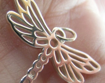 Sterling Silver Open Work Dragonfly Charm(one)