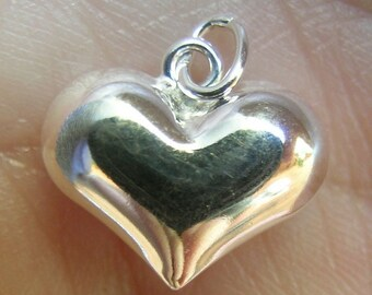 Sterling Silver half inch Puffy Hearts