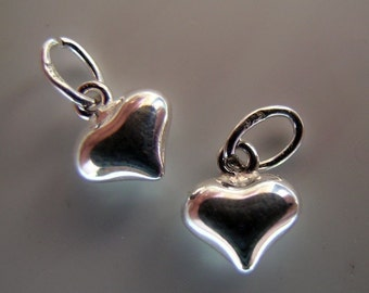 puffed sterling hearts(one pair)