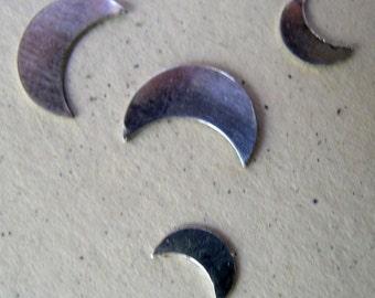 """Sterling Silver Moon Stampings(1/4"""", 3/8"""", 1/2"""" or 5/8"""")24 or 22 gauge"""