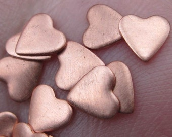 Tiny Copper Heart Discs/ one quarter inch (set of 24)(24 or 22 gauge)