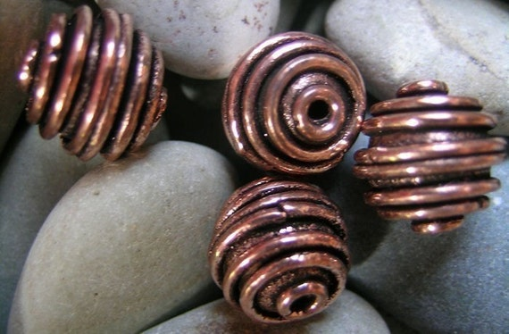 Copper Spiral Beads(6 total)