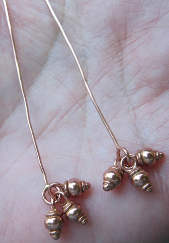 Copper Head Pin With Dangles(Set Of four) or Copper Tiny Discs