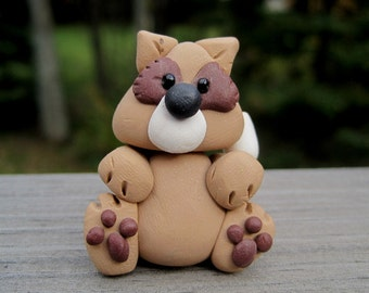 Ricco, the Racoon. Claycraft. Terrarium Decoration/Accessory/ Fairy Garden miniature.