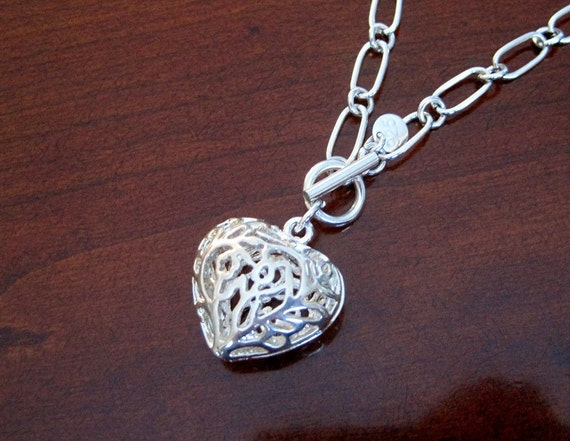 Filigree Silver Lace Puffy Heart Pendant Necklace. Sterling Silver.