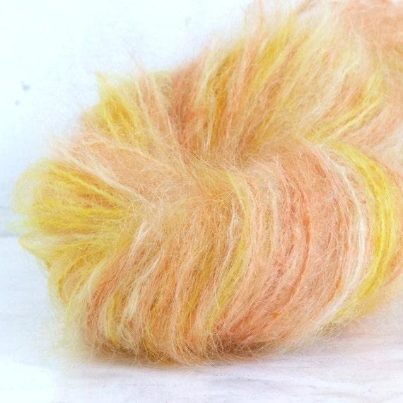 Hand Painted Brushed Mohair Yarn - Georgia Peach - 100 yds