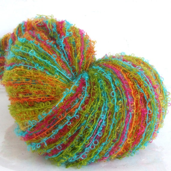Boucle Yarn : Hand Painted Mohair Boucle Yarn Rock It 75 yds by SpinupYarns