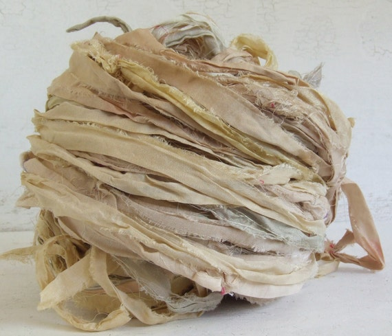 Hand Dyed Recycled Sari Silk Ribbon - Undyed 10 yds