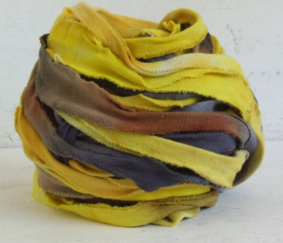 Hand Dyed Recycled Cotton Ribbon - Sunflower, 10 yds