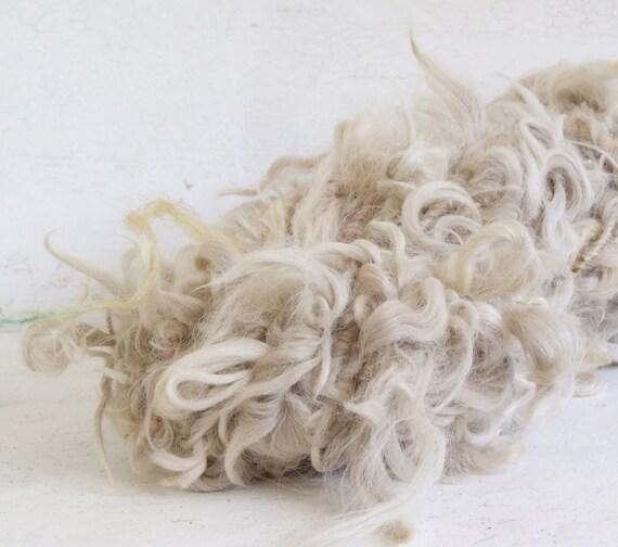 Handspun novelty art yarn - Undyed Suri Locks, 25 yds