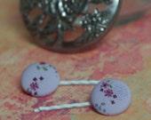 Button Flower Purple  Hair Bobby Pins