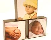 Custom Medium Photo Blocks - Set of 3 - Display Family, Wedding and Vacation Photos