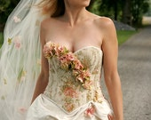Colorful Garden Wedding Dress, Corset Wedding Dress, One of a Kind Wedding Dress Sample Sale