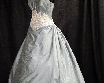 Blue and Silver Wedding Gown in Silk - Sample Sale