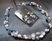 Denim Dream - Slate Denim Blue Colored Shell, Freshwater Pearl and Glass Multistrand Necklace and Earrings Set
