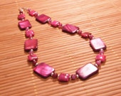 Magenta Sea - Pink Magenta Dyed Shell, Pink Dyed Agate and Crazy Lace with Silver Necklace