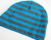 Newborn Hat - Blue and Charcoal Stripes