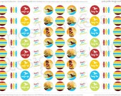 PRINTABLE Birthday Circle Stickers - Red, Yellow, Blue, Green and Brown - Kiss Stickers - DIY Grunge Surfer Collection - by Make Life Cute