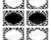 PRINTABLE Designer Labels - Black, White and Damask - DIY Damask Collection