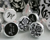 DAMASK - Printable Candy Stickers - Black and White - Personalized Hershey Kiss Stickers - DIY Damask Wedding Collection - by Make Life Cute