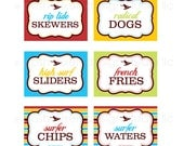 PRINTABLE Designer Labels - Red, Yellow, Blue, Green and Brown - DIY Grunge Surfer Collection - by Make Life Cute
