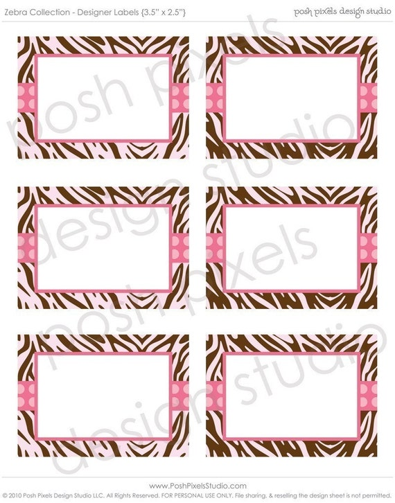 to ZEBRA LABELS - Printable Designer Labels - Baby Shower - DIY Zebra ...