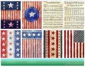 Digital ATC Background Sheet - Vintage-Inspired American Flag Designs
