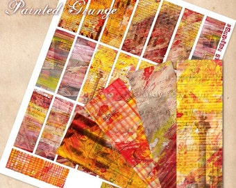 Digital Microscope Slides 1x3 inch sheet - Paint Strokes Grunge Collage